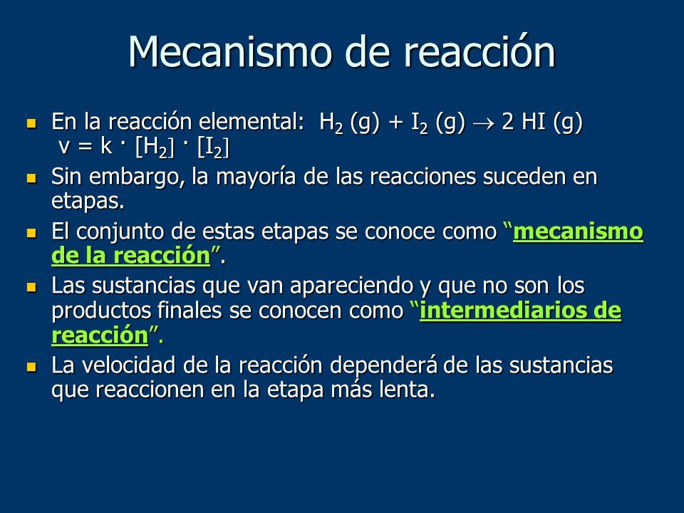 Mecanismo de reacción En la reacción elemental: H2 (g) + I2 (g)  2 HI (g) v = k · [H2 · [I2